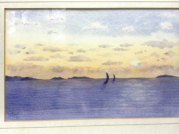 Framed original watercolour seascape by Val Clark. Signed